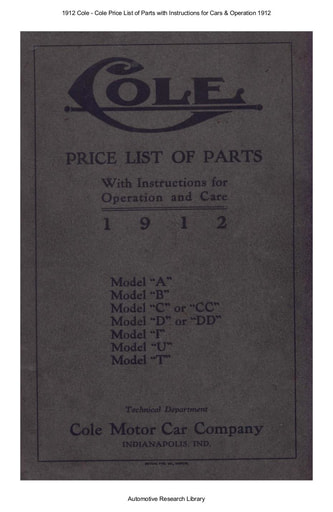 1912 Cole   Price List of Parts with Inst  (63pgs)