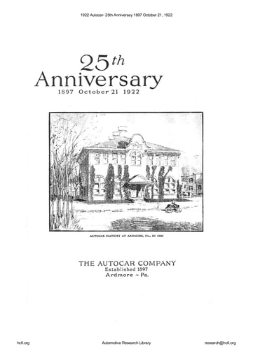 1922 Autocar  25th Anniversay 1897 October 21, 1922 (33pgs)