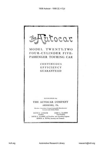 1906 Autocar   22, 4 Cyl (12pgs)