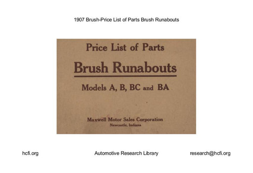1907 Brush   Price List of Parts (13pgs)
