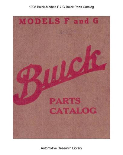1908 Buick   Models F 7 G Parts Catalog (34pgs)