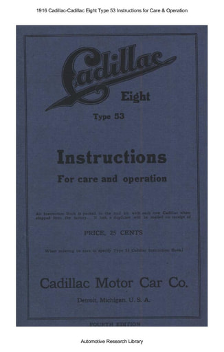 1916 Cadillac   Eight Type 53 Instructions (85pgs)