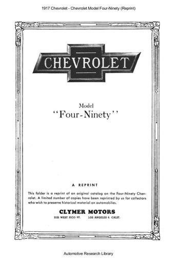 1917 Chevrolet   Model Four Ninety (Reprint) (5pgs)