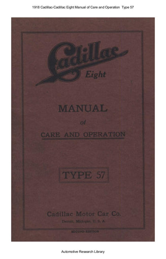 1918 Cadillac   Eight Manual of Care and Operation  Type 57 (101pgs)