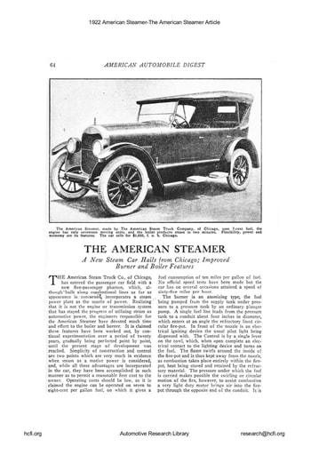 1922 American Steamer The American Steamer Article
