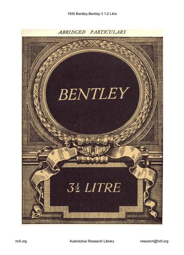 1935 Bentley   3 1 2 Litre (11pgs)