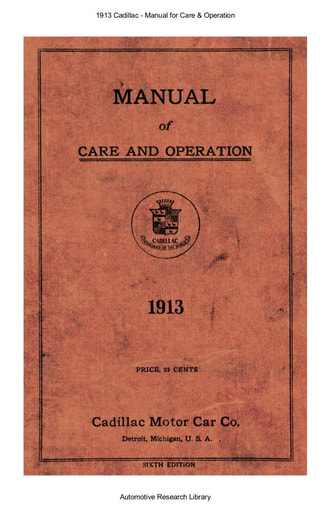 1913 Cadillac   Manual for Care & Operation (81pgs)