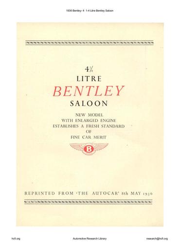 1936 Bentley  4 1 4 Litre Saloon (4pgs)