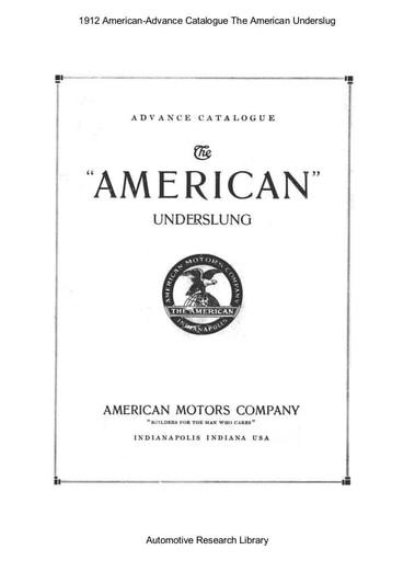 1912 American Advance Catalogue   Underslung (1pgs)